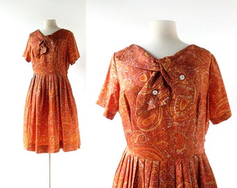 Vintage 1960s Dress / Cast in Copper / Taffeta Dress / 60s Dress / L XL