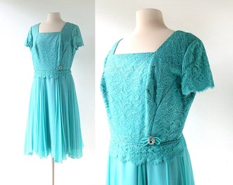 50s Party Dress | Aquamarine Dream | 1950s Dress | Large L