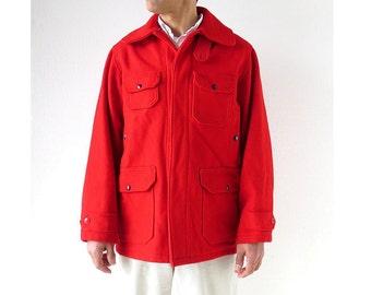 Vintage Woolrich Jacket | 1950s Coat | Mackinaw Cruiser Jacket | Red Wool Coat | Size 38