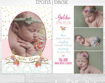 Goldie- Double Sided - Custom Birth Announcement