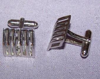VINTAGE Anson Modernist Cufflinks Linear Open Design Pat Pending Retro Groom Gift