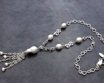 Handmade Sterling Silver and Baroque Pearl Necklace