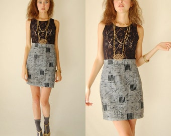 Mini Skirt Vintage 80s Graphic Houndstooth High Waist Indie Urban Mini Pencil Skirt (s m)