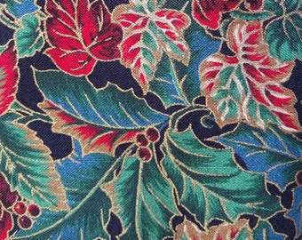 013 ~ Christmas fabric Colorful fabric Colorful holly Red berries *