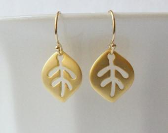 Tiny Leaf Dangle Earrings, Gold Earrings, Small Leaf Gold Earrings