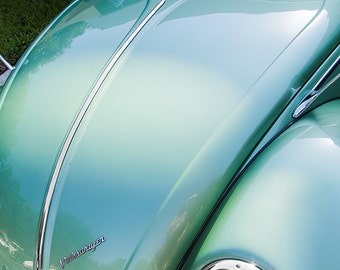 1957 Volkswagen Bug Car Photography, Automotive, Auto Dealer, Classic, Muscle, Sports Car, VW, Mechanic, Boys Room, Garage, Dealership Art