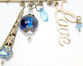 Love is Blue Pin with Blown Glass Bead, Love Charm, Swarovski Faceted Drop, Polymer Clay Bead, and Antique Bronze Accents