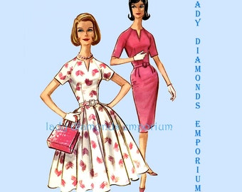 McCalls 5812 Vintage 60s Fitted or Flared Rockabilly or Wiggle Dress Womens size 18 Bust 38 Plus Size Full Figure Sewing Pattern Vintage