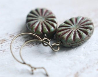 Beaded Earrings - Fossil - Pressed Czech Glass Earrings