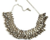 Vintage Gypsy Boho Metal Bells Beaded Link Bib Necklace