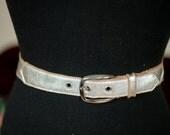 Vintage 1950s Belt - Silver Metallic Rockabilly Bombshell Leather Belt M L