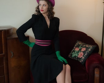 Vintage 1940s Dress - Amazing Black Rayon New York Creation 40s Dress with Fuchsia & Emerald Green Color Block Belt and Strong Shoulders