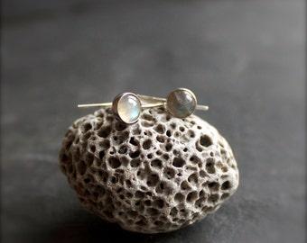 Labradorite Drop Earrings - Sterling Silver, Grey Blue Gemstone, 6mm Stone, Metalwork Jewelry
