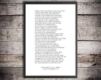 William Shakespeare Printable Quote 'Julius Caesar' Digital Download Minimalist Poster Literature Print 'Friends, Romans' Funeral Speech