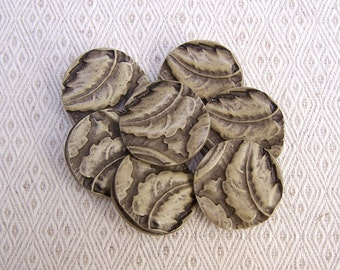 Carved Leaf Buttons, 27mm 1-1/8 inch - Sepia Brown Autumn Leaves Sewing Buttons - 7 VTG NOS Leaves are Brown Plastic Shank Buttons PL450 bb