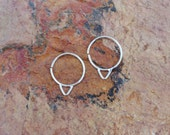 sterling silver, hoop, earrings, tiny, small delicate, triangle, rose gold, 14k