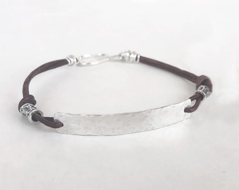 Sterling Silver Leather Bracelet - Leather Bracelet - Sterling Silver Bracelet - Boho Bracelet - Cool Gifts For Women - Leather Anniversary