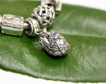 Anatomical Heart - 925 Sterling Silver European Style Charm Bead - Fits most Major Brands 2067