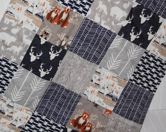 baby boy quilt- woodland baby quilt- elk baby quilt- navy and gray minky baby quilt- baby bedding- arrow baby quilt- navy baby bedding