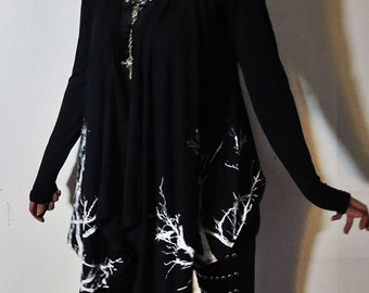 Hell Couture Lavinia Black Branches Drape Hoodie