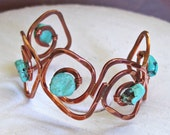 Bracelet: Hammered Copper Cuff with Turquoise Nugget Accents ~ Copper and Turquoise Cuff Bracelet