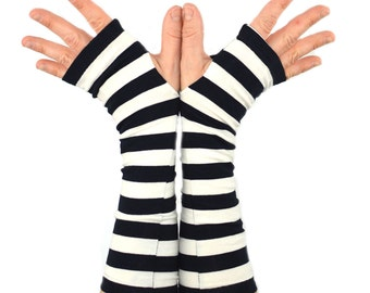 Arm Warmers in Black and White Jailhouse Stripes - Fingerless Gloves - LAST PAIR - XS/S