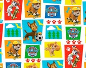Paw Patrol White/Multi Rad Pups 100% Cotton Juenile Fabric by David Textiles