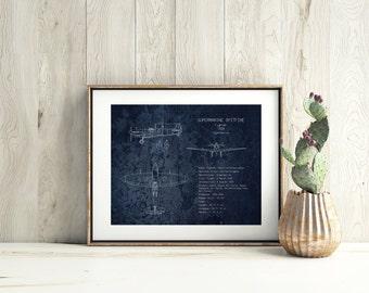 Supermarine Spitfire airplane blueprint, gifts for him, WWII airplane blueprint, military aircraft decor, christmas gift, aviation decor