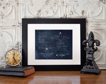 AC-130 Gunship airplane blueprint, AC-130U Spooky blueprint art, aviation decor, aircraft blueprint, husband gift, veteran gift, pilot gift