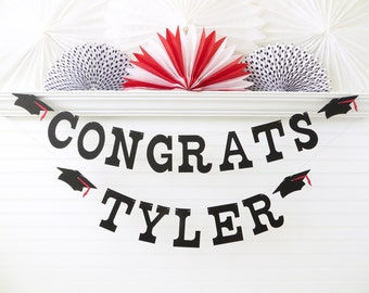 Congrats Banner with Custom Name - 5 inch Letters with Caps - Graduation Banner Congrats Grad Banner Graduation Party Decor Custom Grad Sign