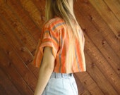 Bright Woven Stripe Crop Top Shirt - Vintage 70s - MEDIUM