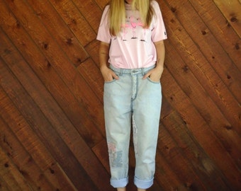 Patchwork High Waist Mom Denim Jeans - Vtg 80s 90s - 27/28