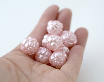 Pearly Pink Pearl Acrylic Round Rose Flower Beads Chunky Large 24mm (4)