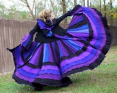 SALE- Custom Recycled Sweater Coat with a Medieval Liripipe Hood by SnugglePants- Purple, Blue, and Black