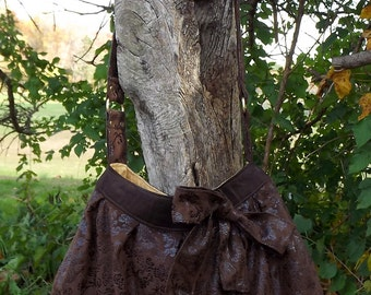 Brown slouch purse with bow