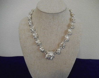 RESERVED Heavy Vintage Sterling  Silver 3 D Rose necklace  And earrings so elegant 70 grams