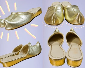 60s Merry Mules By Beacon Gold Slippers | 6 AA