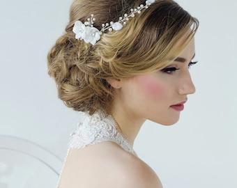 Pearl bridal vine forehead band crystal pearl leaf wedding band Art Deco Style Bridal 1920s Headpiece, wedding hair accessories