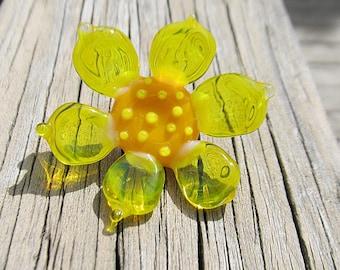 lampwork button, copper shank, large button, yellow flower