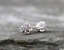 1 Carat Raw Diamond Earrings - Sterling Silver Filigree Inspired - Stud Earring - April Birthstone - Uncut Gemstone - Conflict Free Diamonds