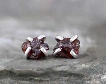 Garnet Earrings - Raw Garnet Stud Earring - Sterling Silver - January Birthstone - Red Raw Gemstone Jewellery - Made in Canada