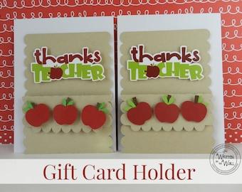 KIT 3 Apple Thanks Teacher Gift Card Holders /Teacher Appreciation  / Teacher Appreciation Gift Ideas / Gift Cards /Teacher present