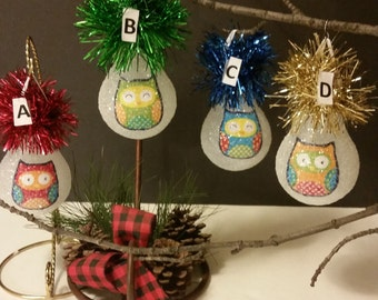 Owl handmade lightbulb ornament