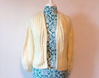 vintage cream sweater // fuzzy mohair cardigan // 1960s 60s romantic sweater