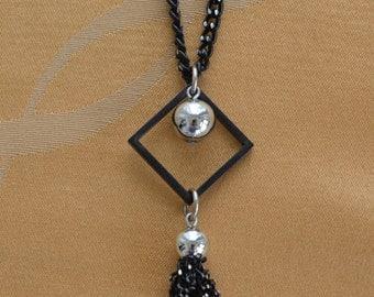 """Pretty Vintage Black, Silver tone Tassel Necklace, Multi-Strand, 18"""", 30"""" (I8)"""