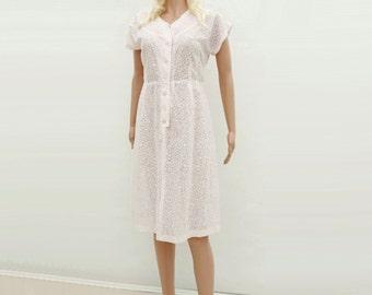 1950s Vintage Dress, 50s Pink Lace Dress, 50s Shirtwaist Dress, Blush Pink Dress, Pale Pink Dress, Sheer Lace Dress, 1950s Wiggle Dress, L