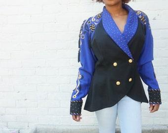 Blazer 1980s Vintage Purple Gold Glam Jacket