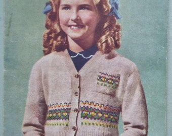 Vintage 40s 50s Knitting Pattern Girl's Children's Cardigan Fair Isle design with chest pocket original colour pattern Weldons A739 UK
