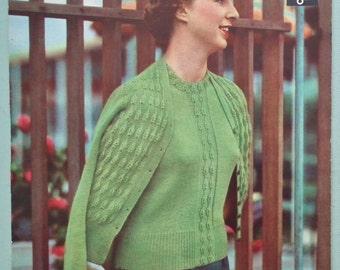 Vintage 40s 50s Knitting Pattern Women's Girl's Twin Set Sweater Jumper Cardigan 1940s 1950s original pattern Lavenda Hand Knit No. 316 UK