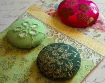 Ponytail Holders - 3 Fabric-Covered Button Ponytail Holders - Unique and Unusual Hair Accessories - Pink and Green